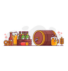 beer festival october fest line art banner vector image