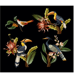 birds and tropical leaves and flowers isolated vector image
