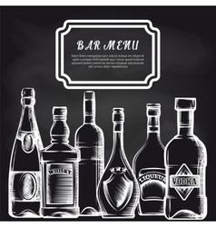 Bottles on chalkboard bar menu background vector image