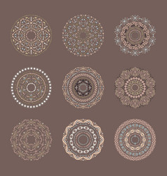 brown set of 9 mandalas in tribal style vector image