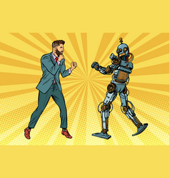 businessman fighting with a robot vector image