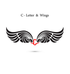 C-letter sign and angel wingsmonogram wing logo vector