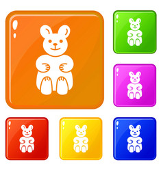 Candy bear icons set color vector