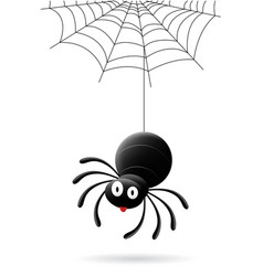 Cartoon black spider halloween vector