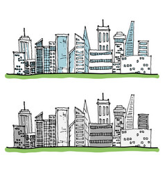 Cartoon hand drawing city with color on white vector