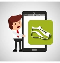 Cartoon man smartphone app running vector
