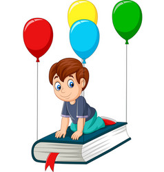 Cartoon schoolboy flying on a book vector