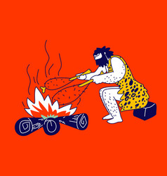 Caveman character frying meat on bonfire sitting vector