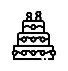 celebration wedding cake thin line icon vector image