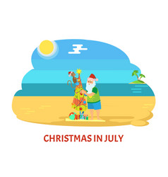 Christmas on beach in july with santa claus vector
