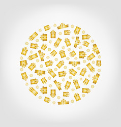 circle from golden gift box and snowflake vector image