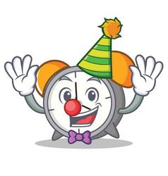 Clown alarm clock mascot cartoon vector