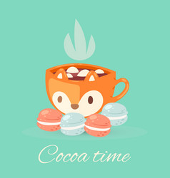Cocoa time lettering cartoon vector