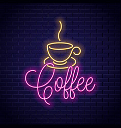 coffee neon banner cup coffee neon sign on vector image