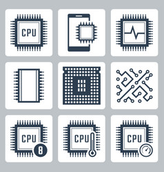 Cpu and electronic chip icon set vector