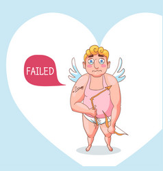 cute cupid angel character on love poster vector image