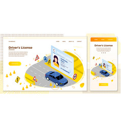 drivers license car riding on a road vector image