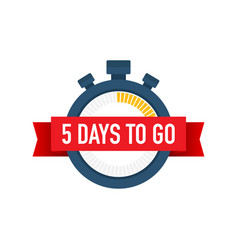 Five days to go time icon on white background vector