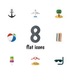 Flat icon season set of sphere wiper coconut and vector