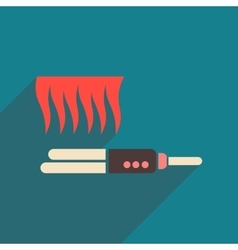 Flat icon with long shadow women hair straightener vector