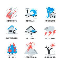 Flat set of natural disaster icons falling vector