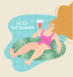 funny girl swimming on a inflatable circle vector image