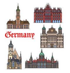 german travel landmark thin line icon set vector image
