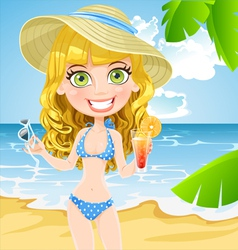 Girl on the beach with a cocktail and sunglasses vector