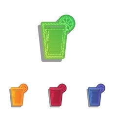 glass juice icons colorful applique icons set vector image
