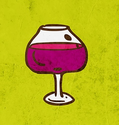 Glass of wine cartoon vector