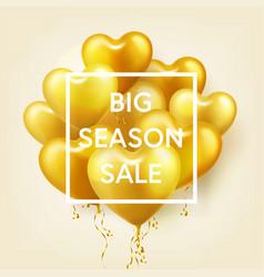 Golden balloons in heart shape season sale banner vector