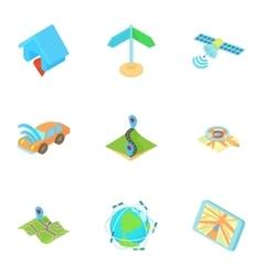 GPS navigation icons set cartoon style vector