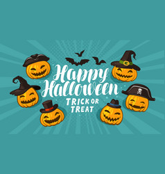 halloween greeting card holiday banner cartoon vector image
