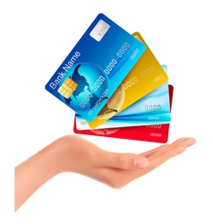 Hand holding credit cards vector