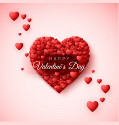 happy valentines day greeting card heart frame vector image