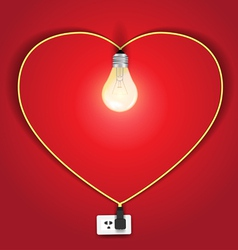 Heart lamp ideas concept vector