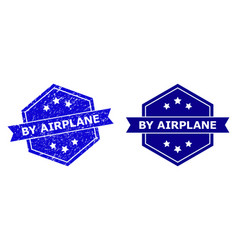 Hexagonal by airplane watermark with corroded vector