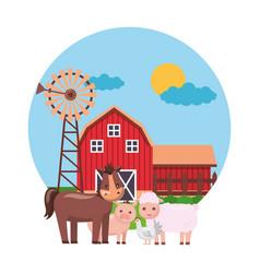 horse hen sheep farm fresh vector image