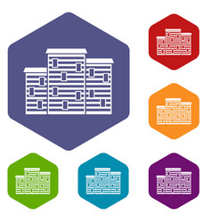 Houses icons set hexagon vector