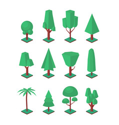 Isometric trees set objects for landscape vector