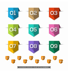 Label bookmark with Number long shadow Flat Icons vector