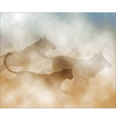 Lioness hunting wildebeest vector