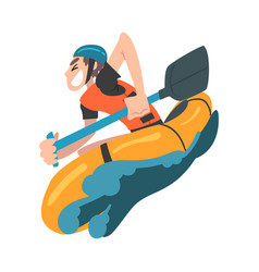 Man rafting on mountain river in inflatable boat vector