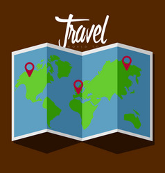 Map icon with pin entires travel concept vector