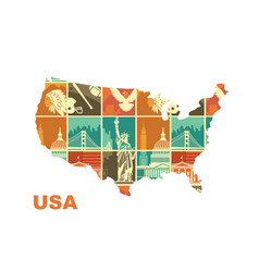 map of the usa with traditional symbols stylized vector image