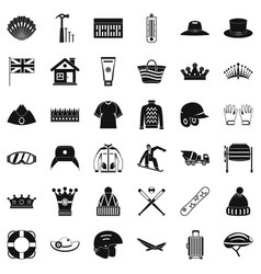 Mask icons set simple style vector
