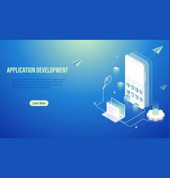 mobile application development and program coding vector image