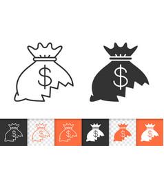 money lost simple black line icon vector image