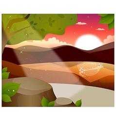 Mountain sun reflection vector image