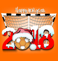 new year numbers 2018 and handball ball vector image